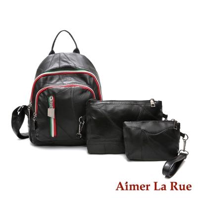 Aimer La Rue 後背包三件組 羊皮西西里系列(黑色)