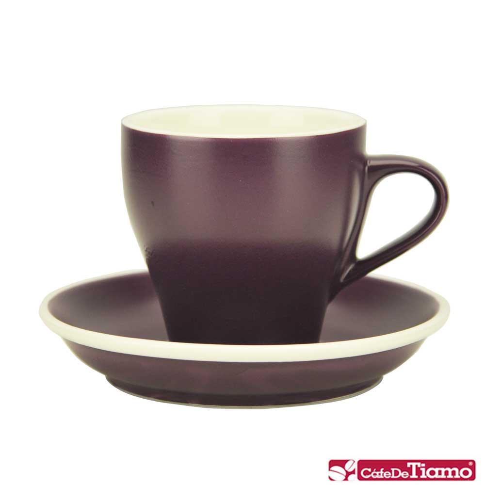 Tiamo 14號鬱金香卡布杯盤組5客180CC-紫色(HG0851P)