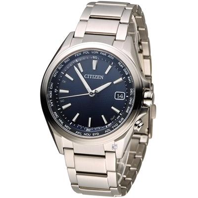CITIZEN 星辰 五局電波光動能鈦金屬腕錶(CB1070-56L)-藍/42mm