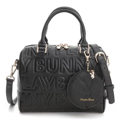 PLAYBOY- 2WAY波士頓包 Fashion Brand 時尚烙印系列-時尚黑