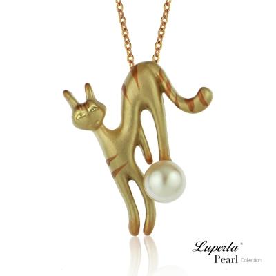 大東山珠寶 淡水珍珠手繪彩漆墬飾長版項鍊  俏皮魔女貓