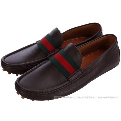 GUCCI 經典綠紅綠織帶飾樂褔鞋(咖啡色)