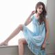 大尺碼 粉藍柔緞睡衣L-2L Annaber