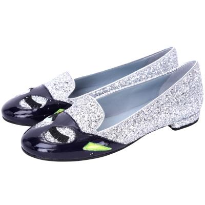 Chiara Ferragni Superhero 銀色貓女款亮片樂福鞋(展示品)