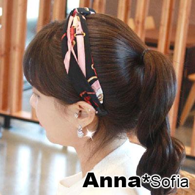 【2件7折】AnnaSofia 緞面鎖鏈圖騰 韓式髮箍(黑粉系)