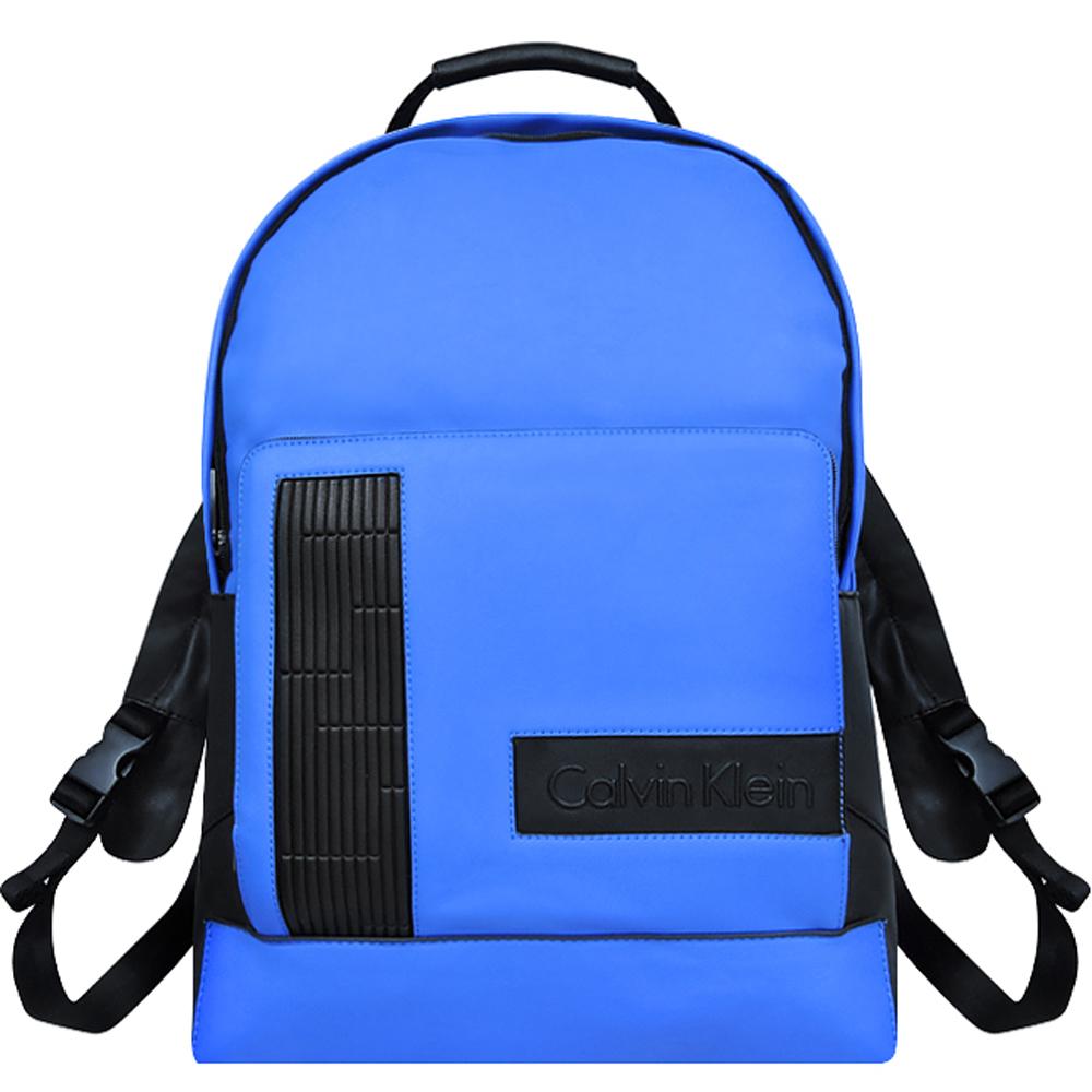 Calvin Klein 藍色皮革壓紋後背包-大型