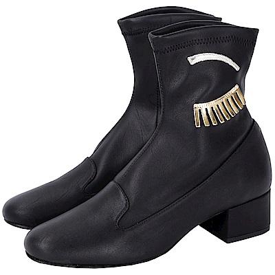 Chiara Ferragni Flirting 黑色眨眼圖案側拉鍊短靴(展示品)