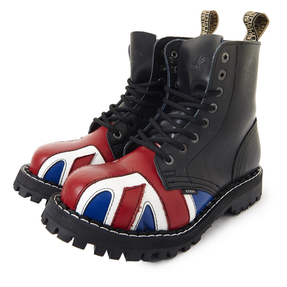 STEEL BOOTS歐洲經典8孔鐵頭靴-英國國旗