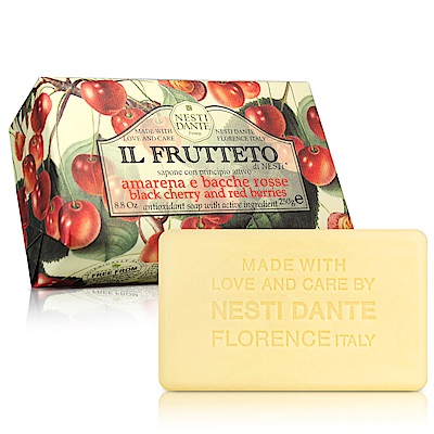 Nesti Dante 天然鮮果系列-黑櫻桃紅莓果皂(250g) X2入