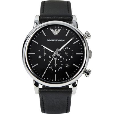 ARMANI Classic 城市時尚計時腕錶-黑/46mm