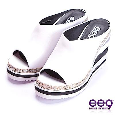 ee9 青春熱力百搭露趾楔形拖鞋 白色