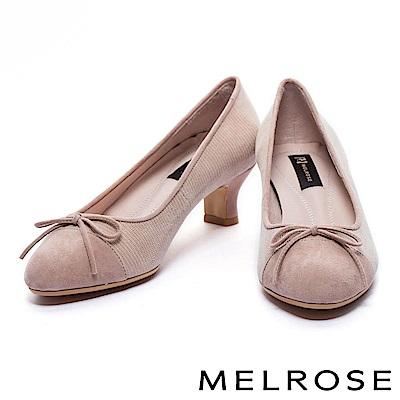 高跟鞋 MELROSE 異材質拼接全真皮圓頭高跟鞋-杏