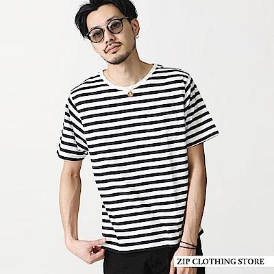 圓領橫條紋短袖T恤(20色) ZIP日本男裝