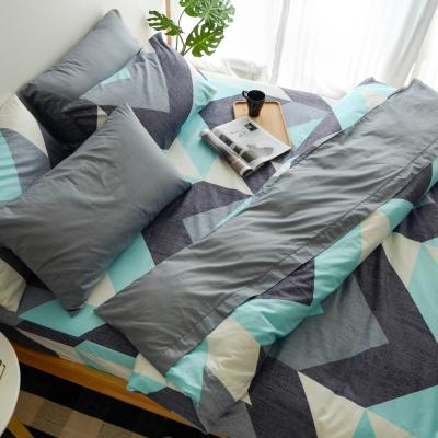 絲薇諾 MIT精梳純棉 笛卡兒 藍 雙人加大6尺 薄床包薄被套組
