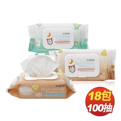 韓國MOTHER-K純淨自然幼兒濕紙巾(100抽x18包/箱)-掀蓋柔花款(包裝隨機出貨)