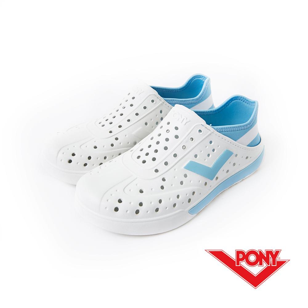 PONY ENJOY系列-輕量透氣洞洞鞋-中性-白藍阿根廷