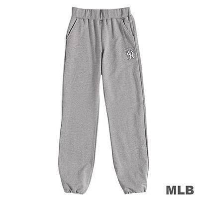 MLB-紐約洋基隊LOGO繡花合身縮口棉褲-麻灰 (女)