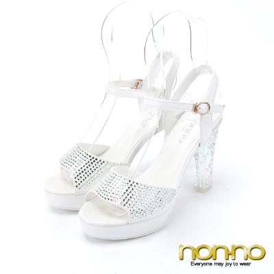 nonno-夢幻公主-水鑽繫帶透明高跟鞋-白