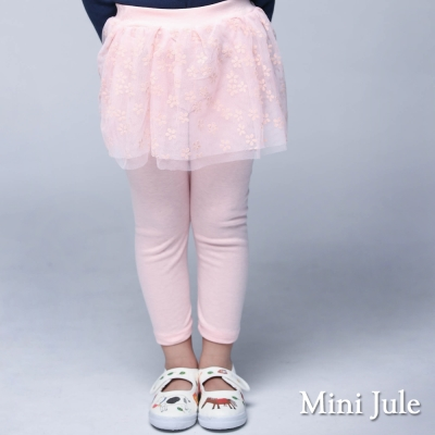 Mini Jule 童裝-內搭褲裙 小花網紗內搭長褲裙(粉)
