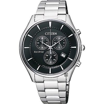 CITIZEN星辰 光動能新世代計時腕錶-黑x銀/40mm AT2360-59E
