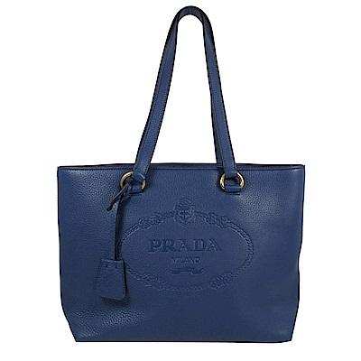 PRADA 烙印大logo牛皮肩背托特包(藍)