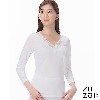 zuzai 自在發熱衣歸真系列女LACE長袖保暖衣-白色