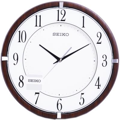 SEIKO 精工 典雅木紋外殼 時鐘 掛鐘(QXA678B)-30.4cm