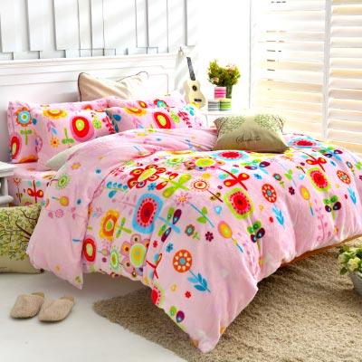 Grace Life 愛的夢想 加大法蘭絨被套毯鋪棉床包四件組