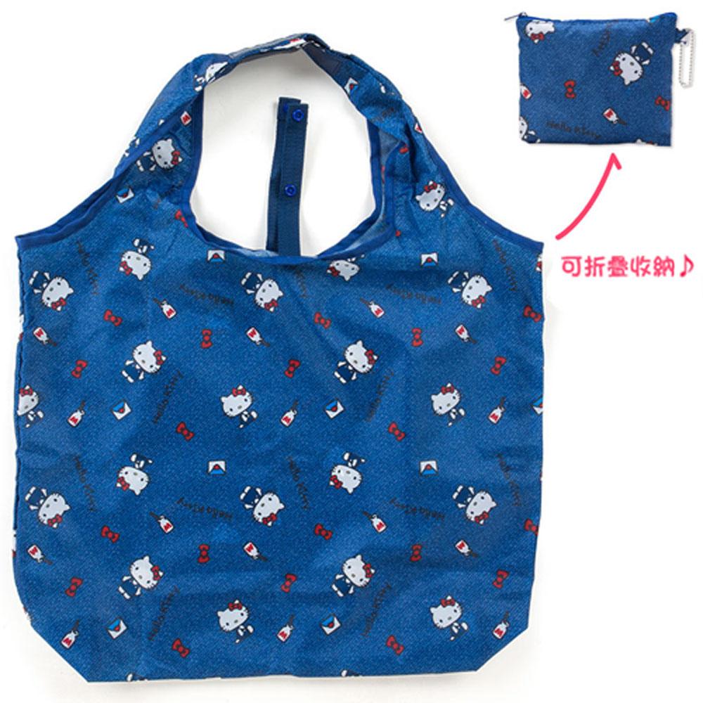 Sanrio HELLO KITTY環保購物袋L(牛仔小物)