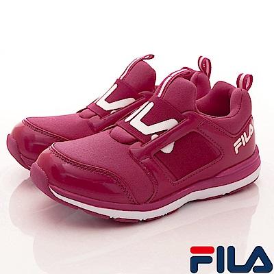 FILA頂級童鞋 輕量襪套式慢跑款FO02S-221桃(中大童段)
