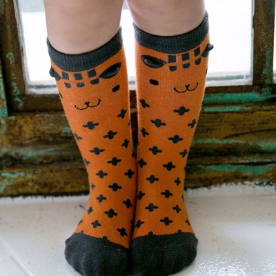 BEBEZOO 韓國 橘色狐狸款及膝中筒襪