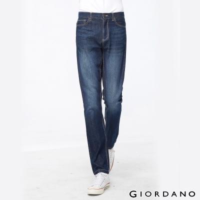 GIORDANO男裝中腰標準直筒牛仔褲-58淺藍