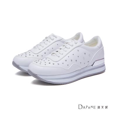 達芙妮DAPHNE-休閒鞋-水鑽鉚釘厚底綁帶運動鞋-白8H