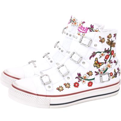 ASH Virtu 丹寧帆布牛仔刺繡高筒休閒鞋(女款/白色)