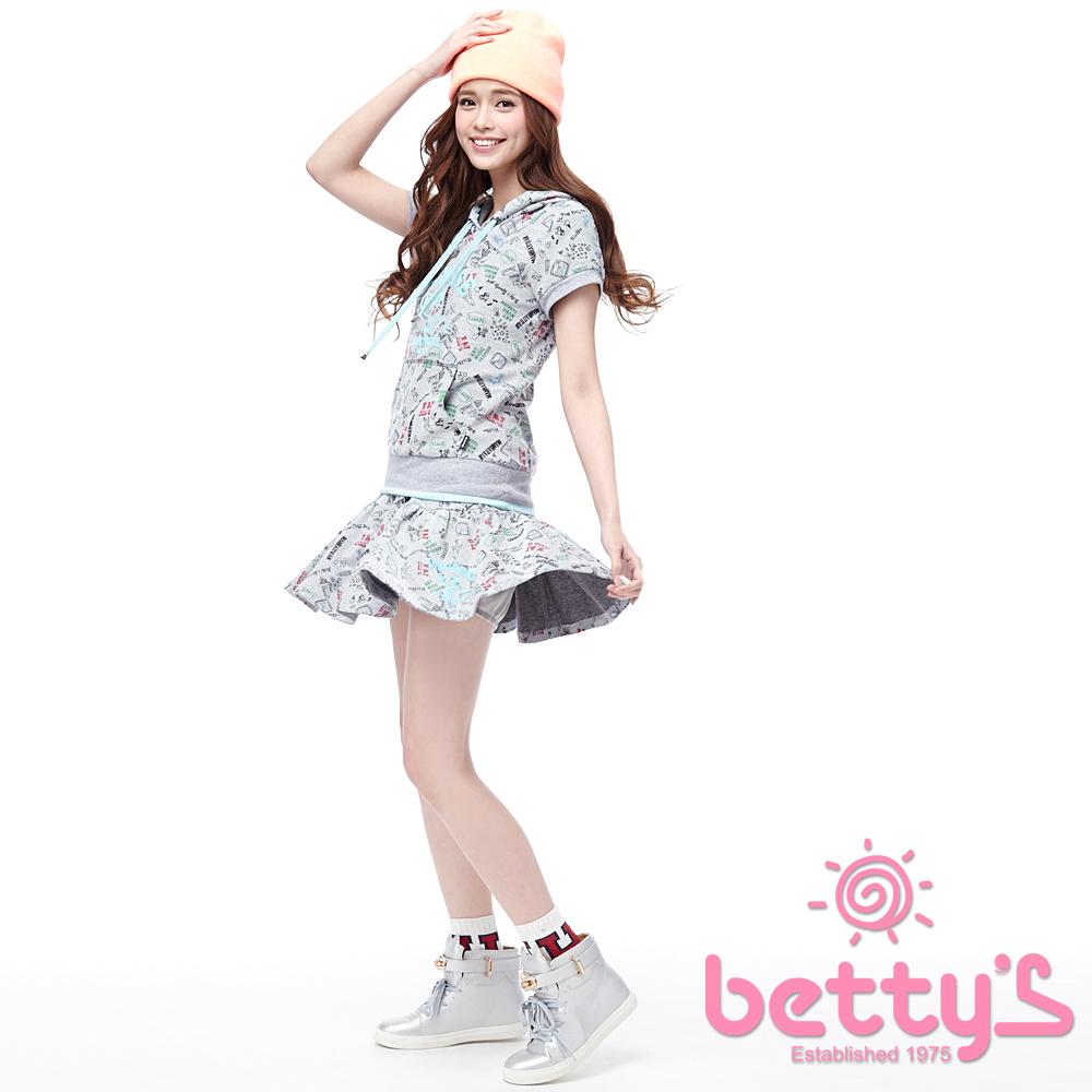betty s貝蒂思美式插畫拼接抓褶A字短裙