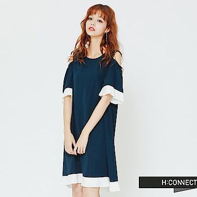 H:CONNECT 韓國品牌 女裝 -露肩百折拼接連身洋裝-藍