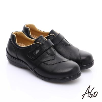 A.S.O 均壓氣墊 全真皮魔鬼氈奈米氣墊鞋 黑