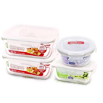 樂扣樂扣 耐熱玻璃保鮮盒-圓滿美味4件組(快)
