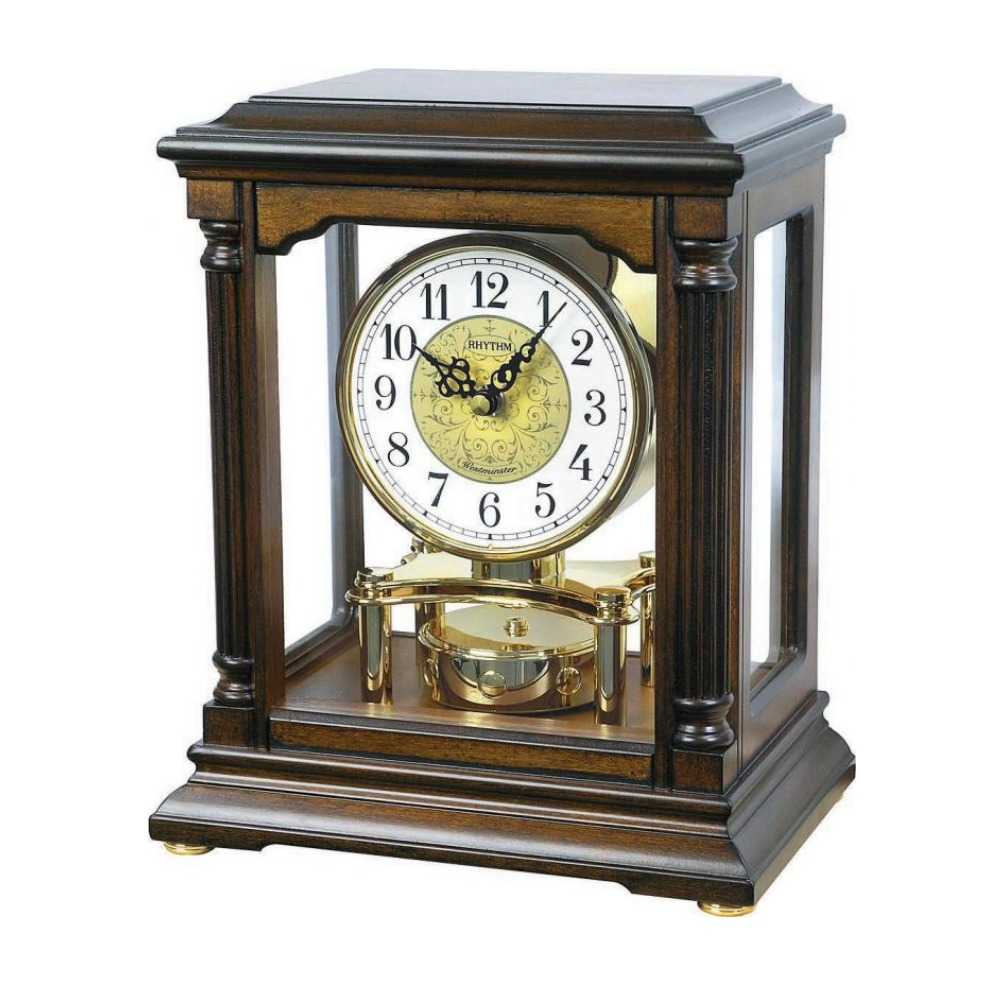 RHYTHM 日本麗聲 時空旅行 古典木製音樂座鐘/桌鐘兩用-白/23.5x28cm