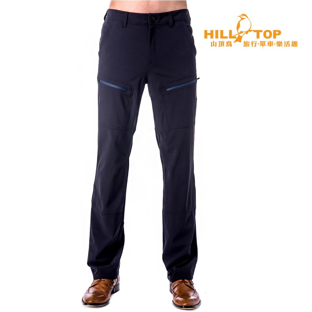 【hilltop山頂鳥】男款超撥水彈性長褲H31MJ8黑