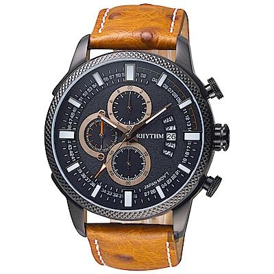 RHYTHM日本麗聲 大自然系列三眼計時手錶-黑x咖啡錶帶/46mm