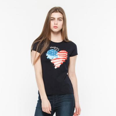 Hang Ten -女裝-有機棉- 趣遊美國印圖T-Shirt -藍