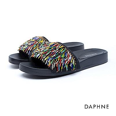 達芙妮DAPHNE 涼鞋-串珠流蘇曲線厚底涼拖鞋-彩