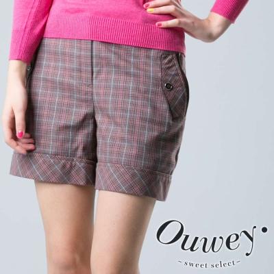 OUWEY歐薇-復古英倫學院短褲-咖