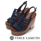 VINCE CAMUTO 復古優雅 單寧厚底粗跟涼鞋-藍色