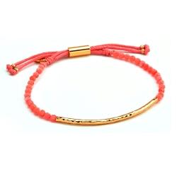 GORJANA POWER GEM 平衡骨 金墜 粉紅珊瑚手鍊 可調式手圍 和諧好人緣