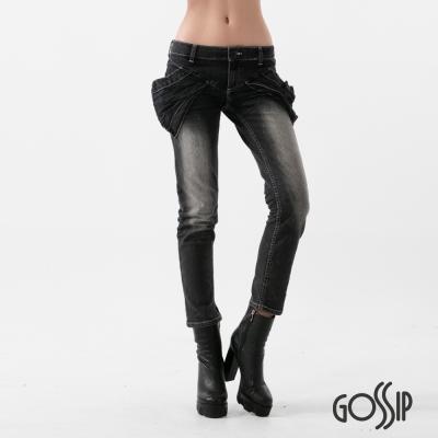 Gossip 低腰緊身大口袋窄管褲-黑-女