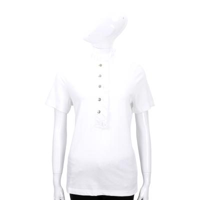 TORY BURCH 白色抓摺荷葉造型短袖上衣