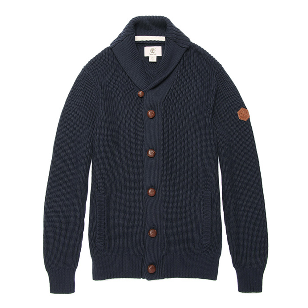 Timberland 男款深藍色造型鈕扣長袖針織外套
