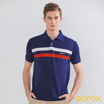 BOFOX 簡約雙色條紋POLO衫-藏青